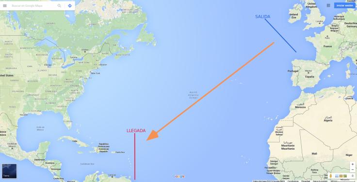 Ruta original este-oeste (marca una ruta desde el suroeste de las islas británicas hasta el noreste de Venezuela)