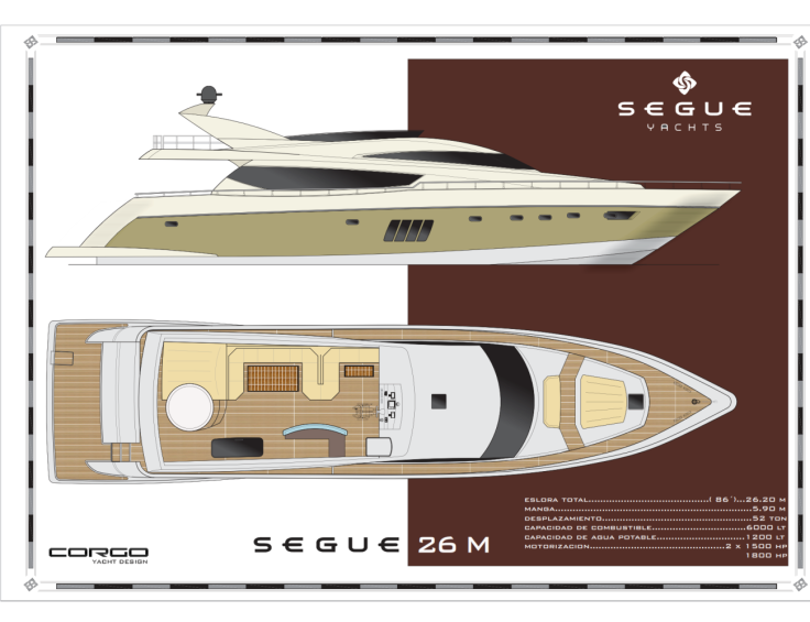 Segue 26 M: perfil y planta del flybridge