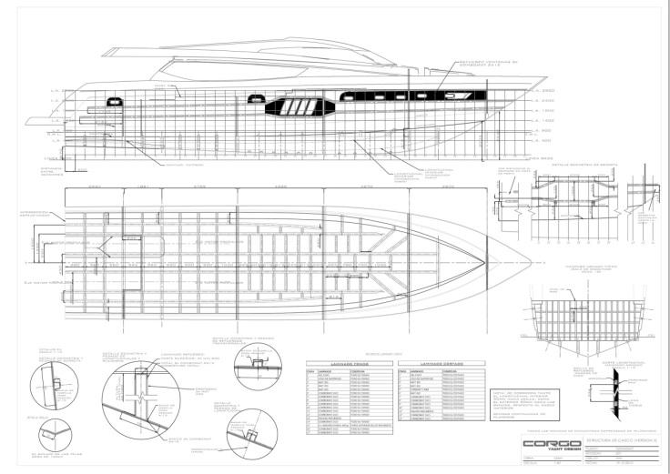Plano de estructura del casco, con algunos detalles de los laminados