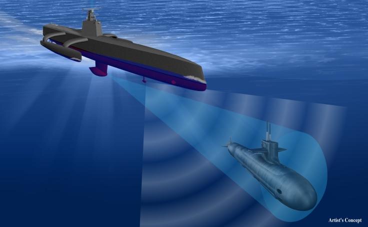 Simulación del *Sea Hunter* detectando un submarino; imagen cortesía de DARPA